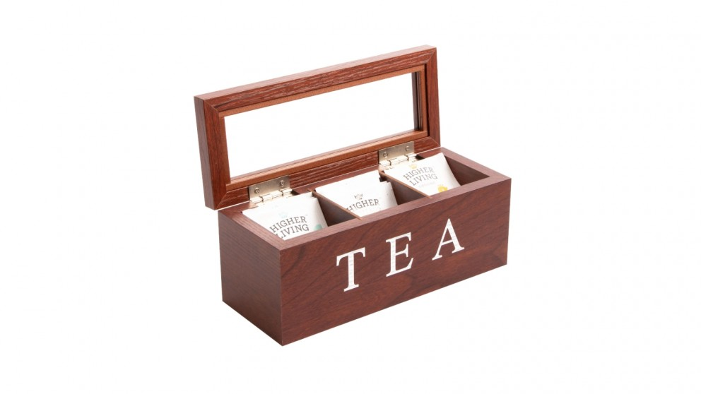 Cooper & Co. Wood Tea Box 3 Compart - Brown