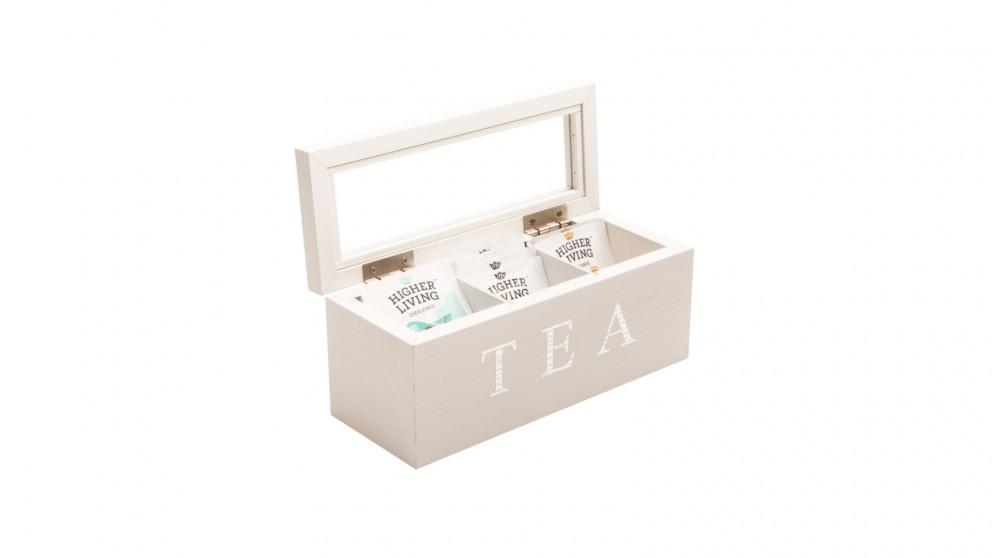 Cooper & Co. Wood Tea Box 3 Compart - White