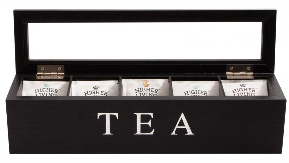 Cooper & Co. Wood Tea Box 5 Compart - Black