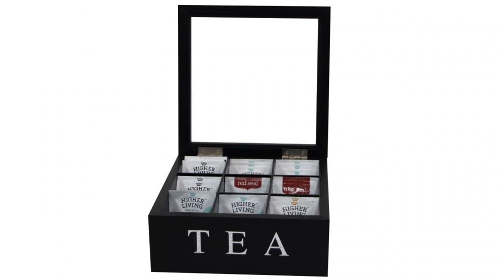 Cooper & Co. Wood Tea Box 9 Compart - Black