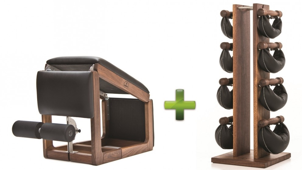 NOHrD TriaTrainer Walnut Bench and Swing Bell Weight Tower Combo Pack
