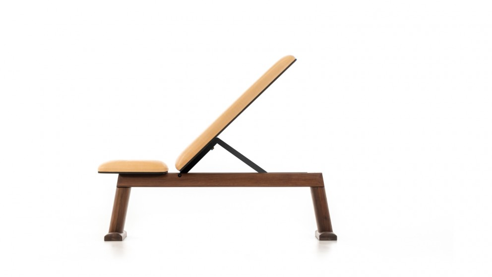 Nohrd Weight Bench Walnut with Tan Leather
