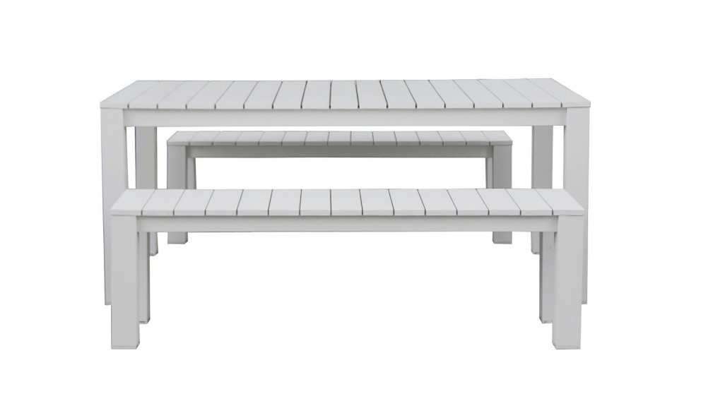 Buy quay 3 piece outdoor rectangular bench dining setting for Furniture quay