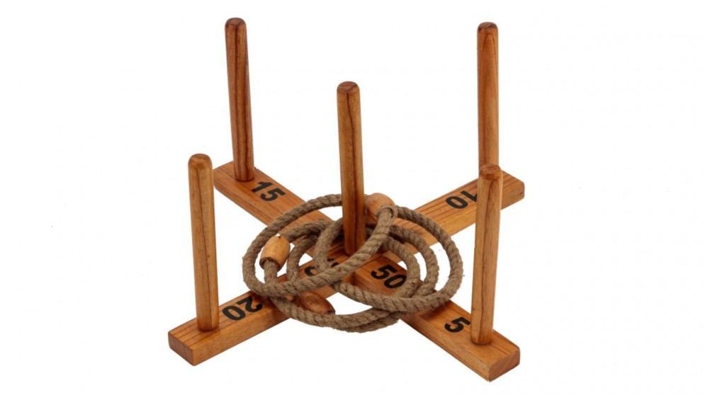 Jenjo Outdoor Wooden Rope Ring Toss Quoits Game