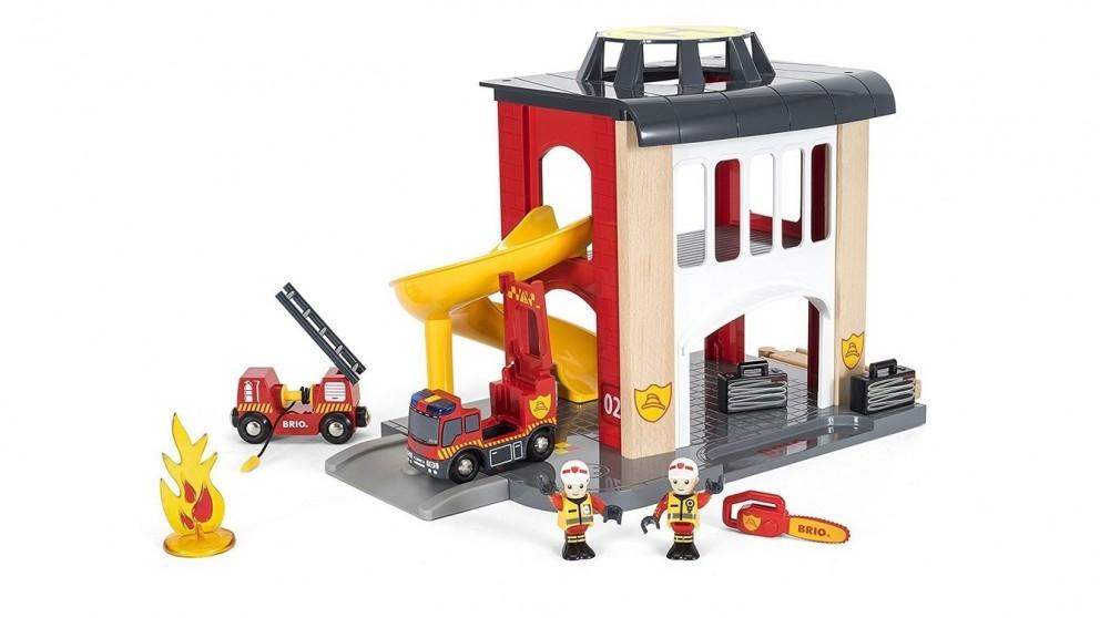 Brio 12-Piece Fire Station Vehicle Playset