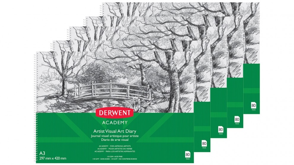 Derwent Academy A3 80pages Artist Visual Art Diary - 5 Pack