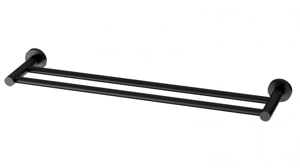 Phoenix Radii 600mm Round Plate Double Towel Rail - Matte Black
