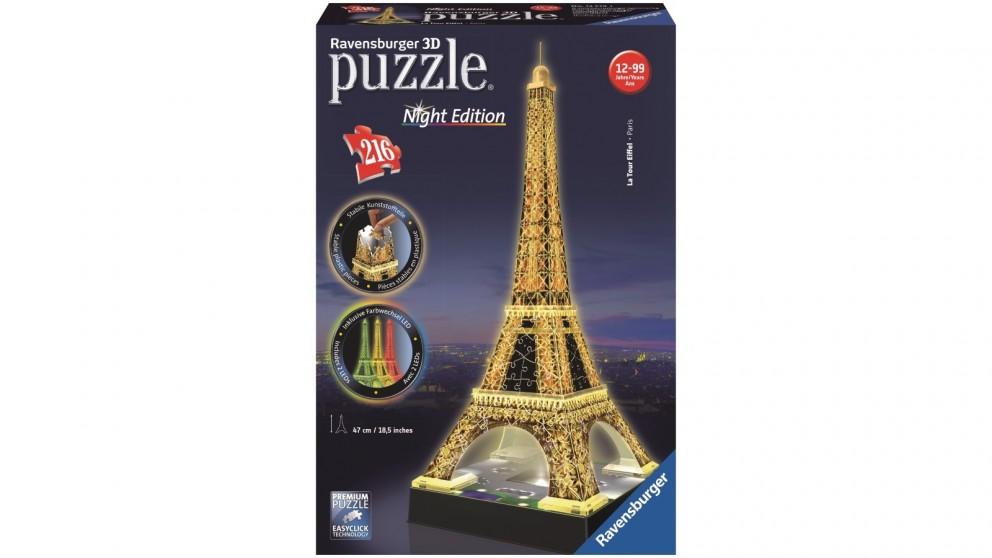 Ravensburger Eiffel Tower at Night 3D 216 Piece Jigsaw Puzzle