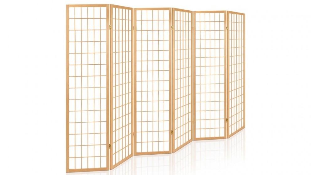 Artiss 6 Panel Wooden Room Divider - Natural