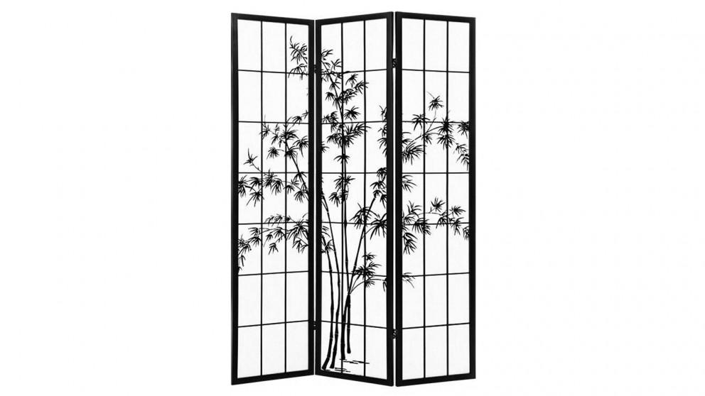 Artiss 3 Panel Shoji Bamboo Room Divider - Black/White