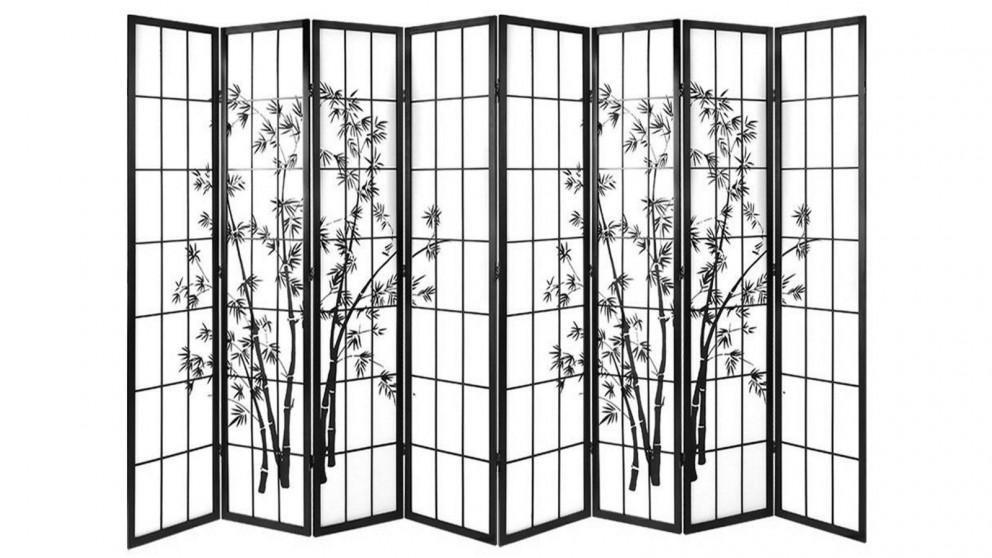 Artiss 8 Panel Shoji Bamboo Room Divider - Black/White