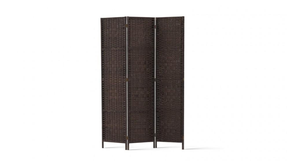 Artiss 3 Panel Woven Room Divider - Brown