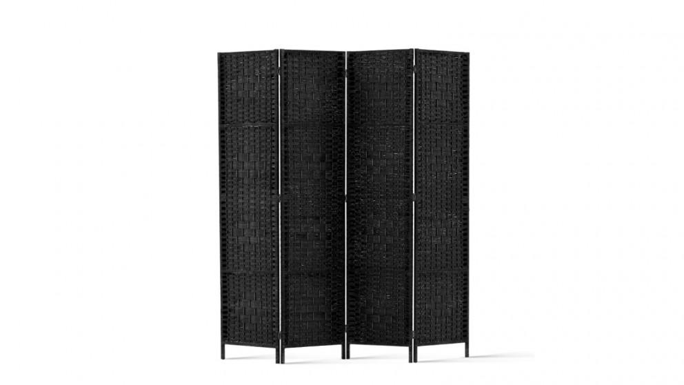 Artiss 4 Panel Woven Room Divider - Black