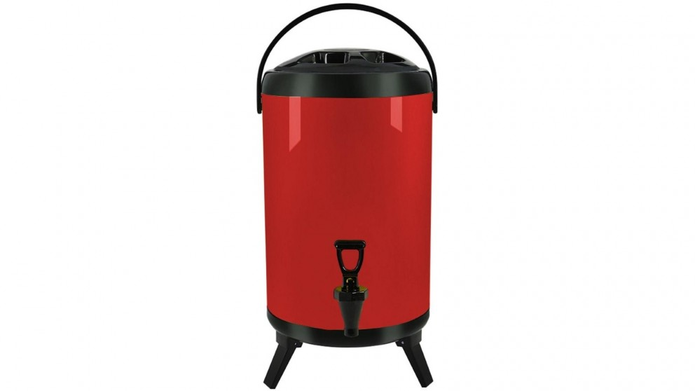 SOGA 16L Stainless Steel Milk Tea Barrel with Faucet - Red