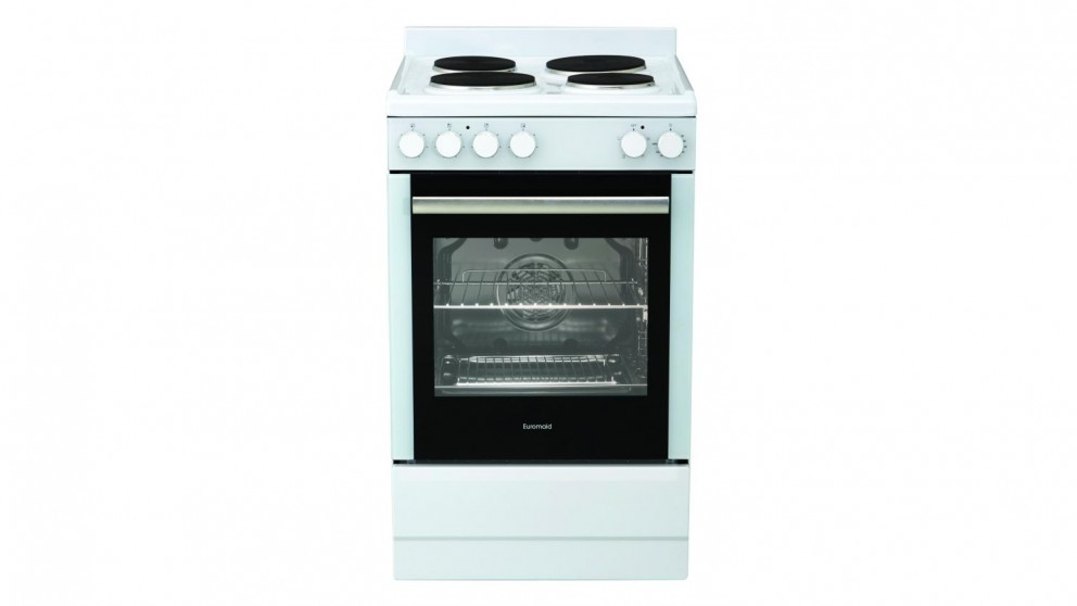 Euromaid 540mm Electric Solid Plate Freestanding Cooker - White