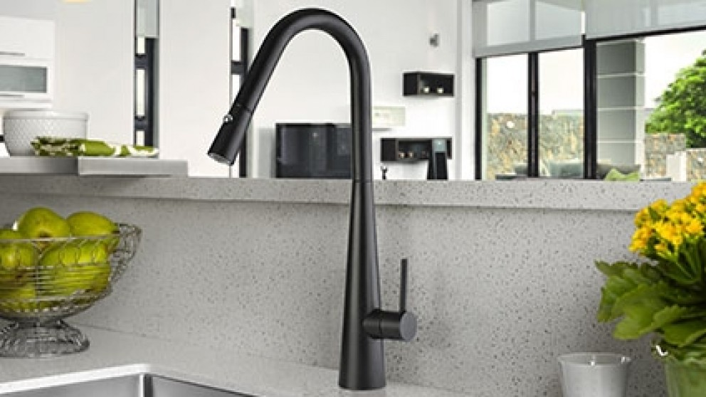 Linsol Aria Matte Black Kitchen Mixer with Pull-Out Hose