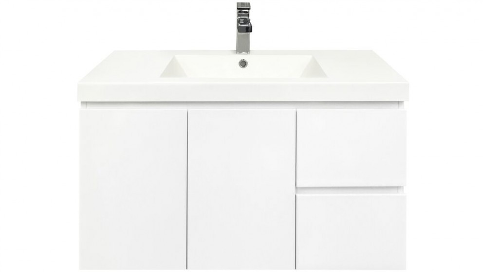 Forme Fifth Avenue 900mm Right Side Drawer Wall Hung Vanity - Polymarble