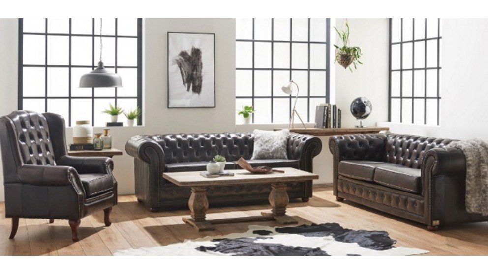 Buy rochester 3 seater leather sofa harvey norman au for Outdoor furniture harvey norman