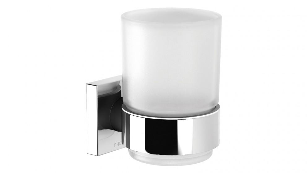 Phoenix Radii Square Plate Toothbrush Tumbler and Holder - Chrome