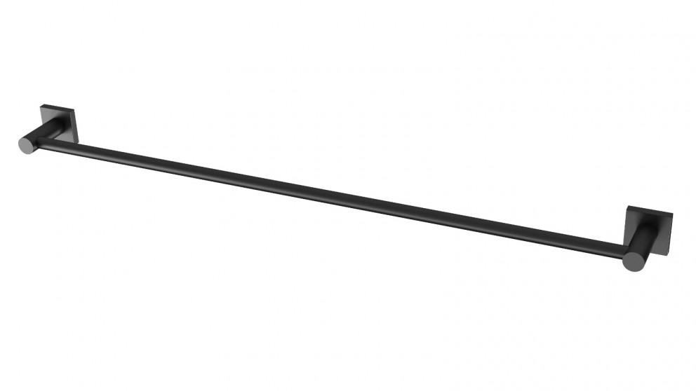 Phoenix Radii 800mm Square Plate Single Towel Rail - Matte Black
