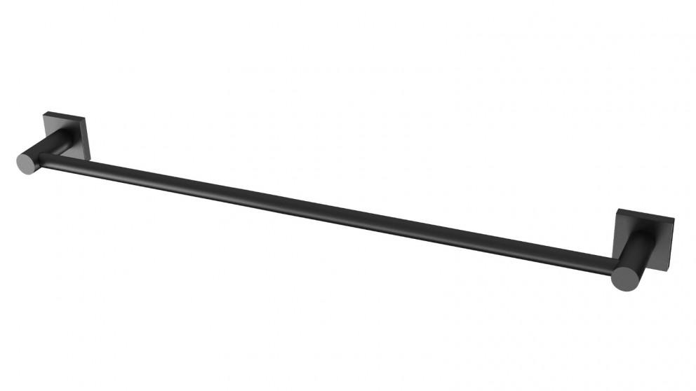 Phoenix Radii 600mm Square Plate Single Towel Rail - Matte Black