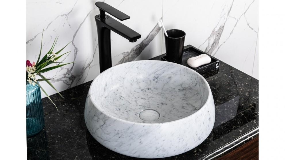 Sanceramica Lotus Vessel Marble Above Counter Basin - Carrara White Natural
