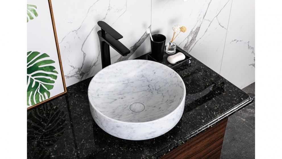 Sanceramica Oasis Vessel Marble Above Counter Basin - Carrara White Natural