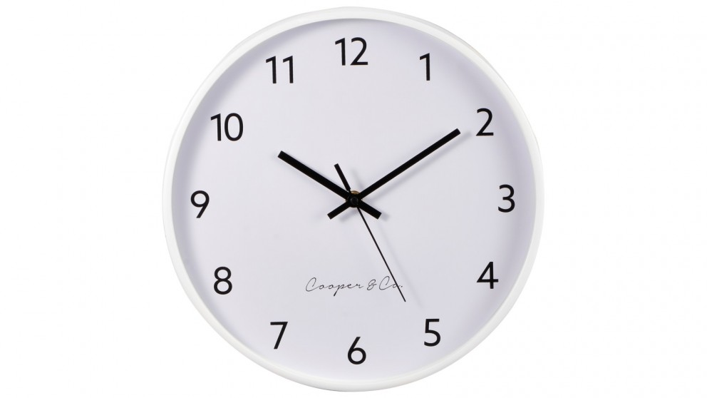 Cooper & Co. 30cm Anderson Silent Movement Round Wall Clock - White