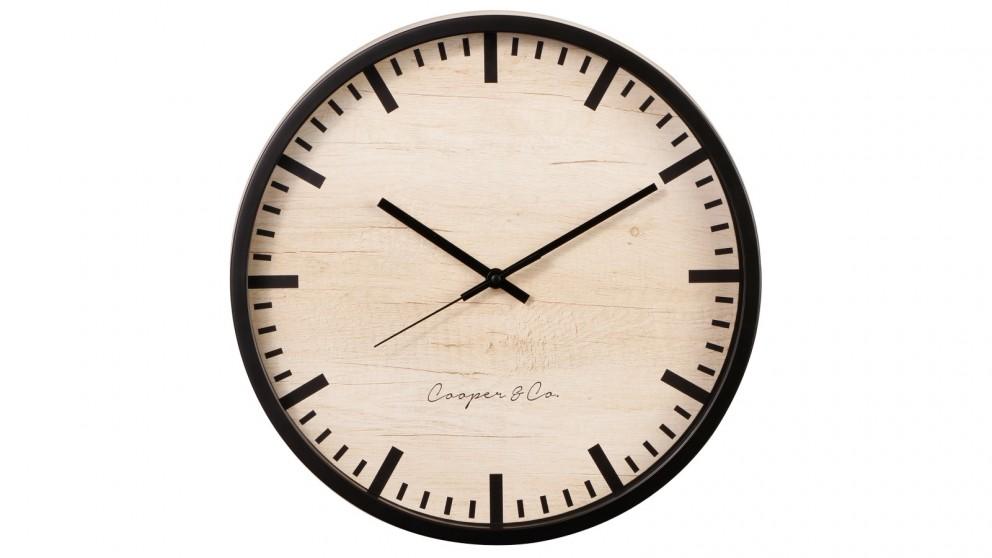 Cooper & Co. 35cm Solomon Silent Movement Round Wall Clock - Black