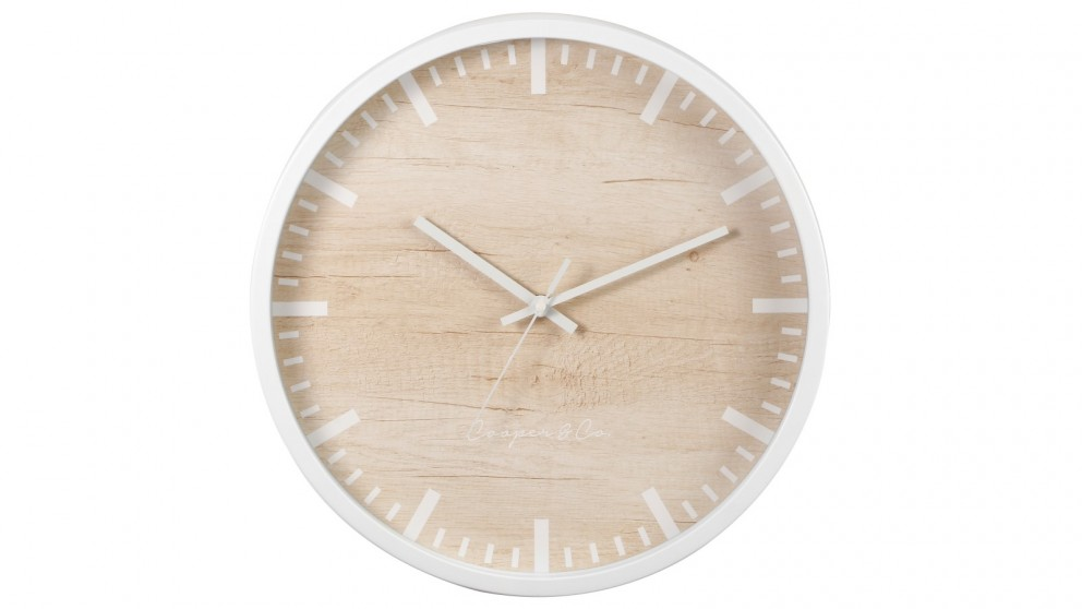 Cooper & Co. 35cm Solomon Silent Movement Round Wall Clock - White