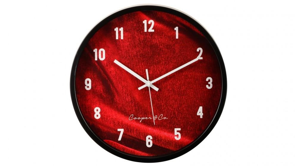 Cooper & Co. Burgundy Vogue Silent Movement Round Wall Clock - 35cm