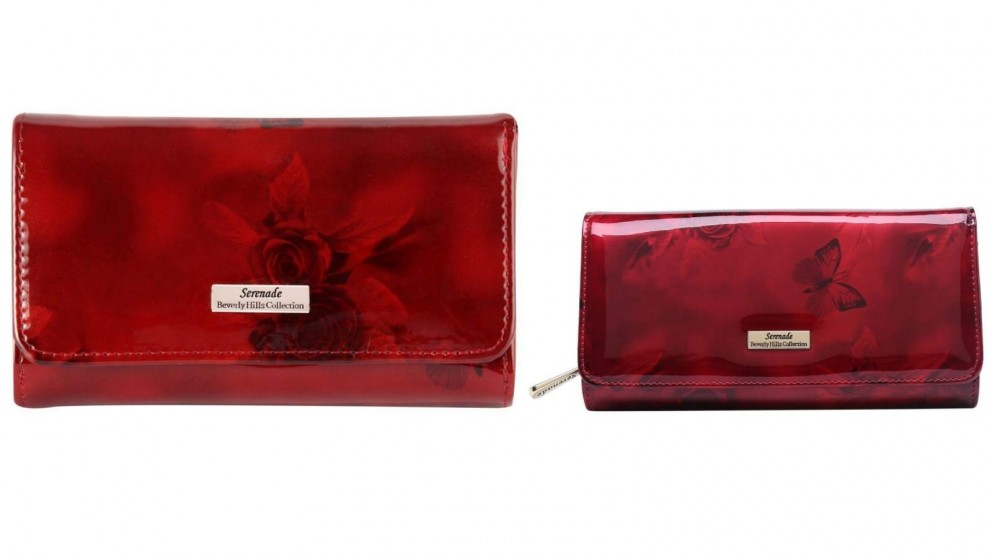 Serenade Cherry Roses RFID Wallet with Gold Fitting - Burgundy