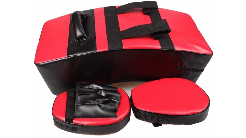 Serrano Kicking Boxing Sparring Shield & Punching Pad Mitts Combo - Red/Black