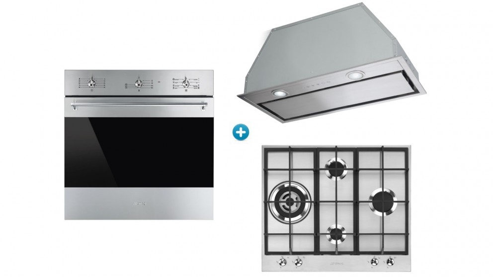 Smeg 600mm Classic Thermoseal Built-in Oven with Gas Cooktop & Undermount Rangehood