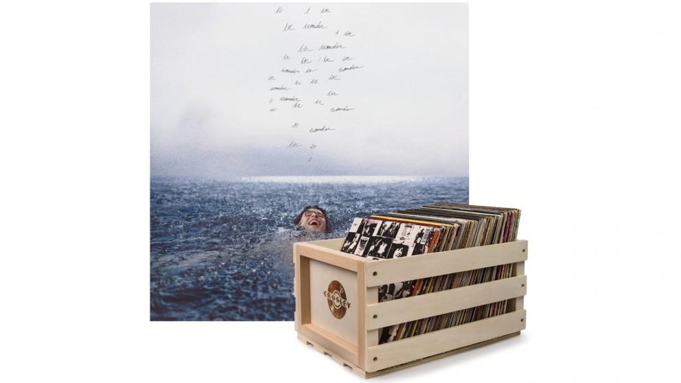 Crosley Record Storage Crate & Shawn Mendes Wonder - Vinyl Album Bundle
