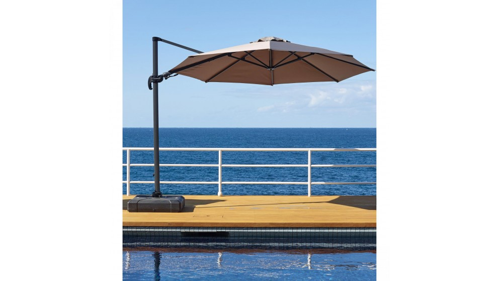 Shine 3 x 3.3m Octagonal Cantilever Outdoor Umbrella - Taupe