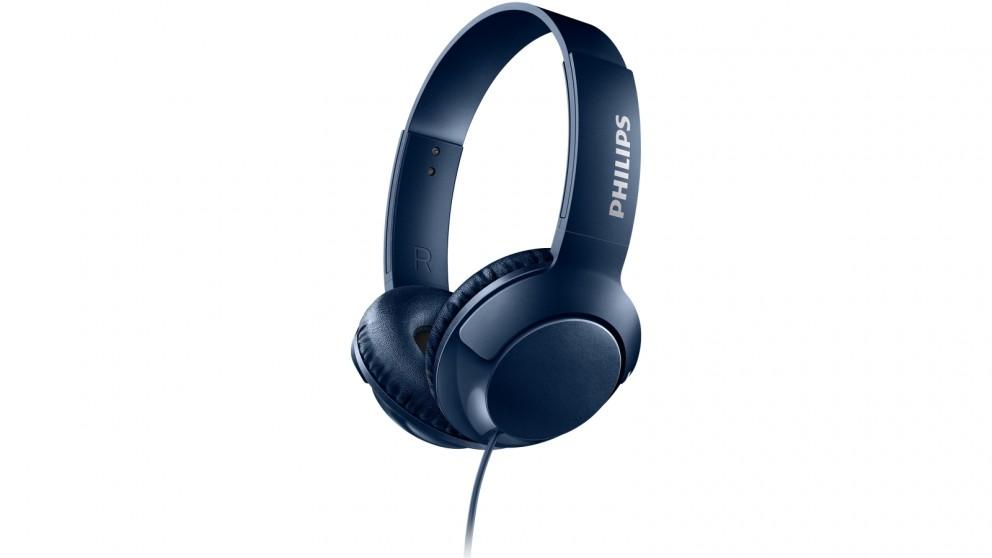 Philips SHL3070 Bass+ On-Ear Headphone - Blue