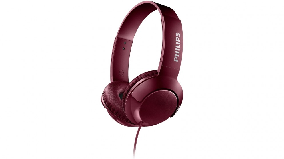 Philips SHL3070 Bass+ On-Ear Headphone - Red