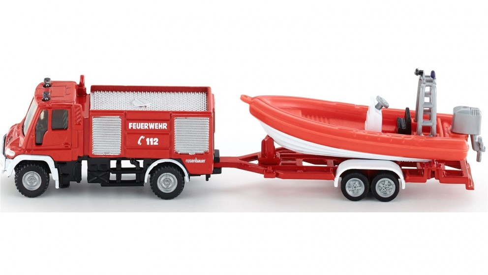 Siku Mercedes Benz Fire Engine with Boat - 1:87 Scale