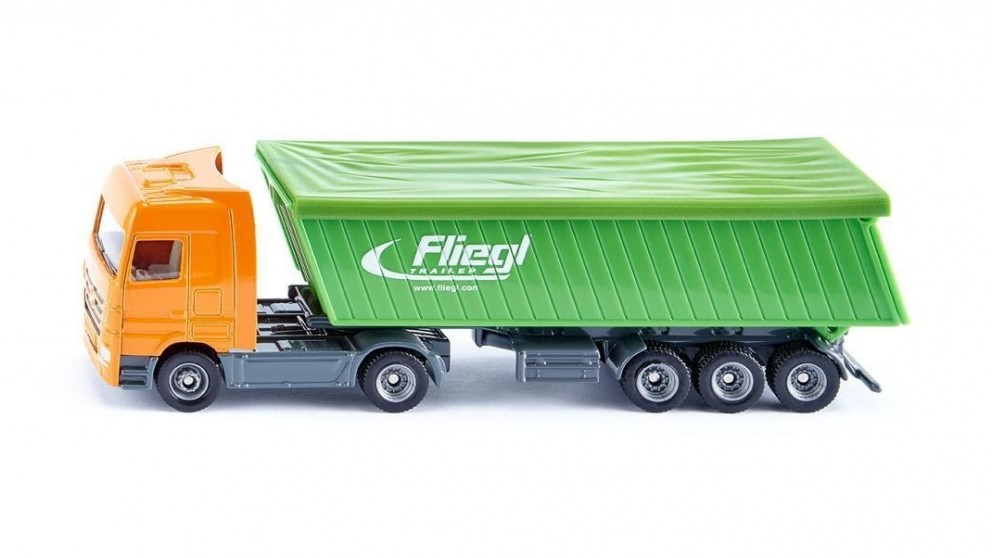 Siku Mercedes Benz Truck with Fliegl Trailer and Roof - 1:87 Scale