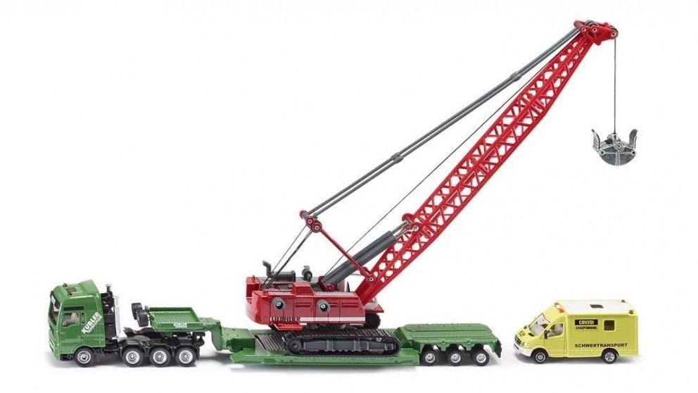Siku Heavy Haulage Transporter with Excavator and Service Vehicle - 1:87 Scale