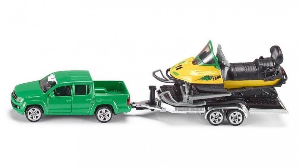 Siku Car with Snowmobile and Trailer 1:55 Scale
