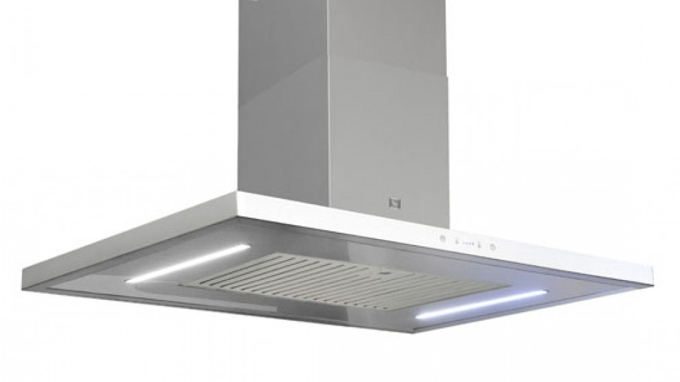 Sirius 900mm Island Canopy Rangehood with Sem 1 Internal Motor - White