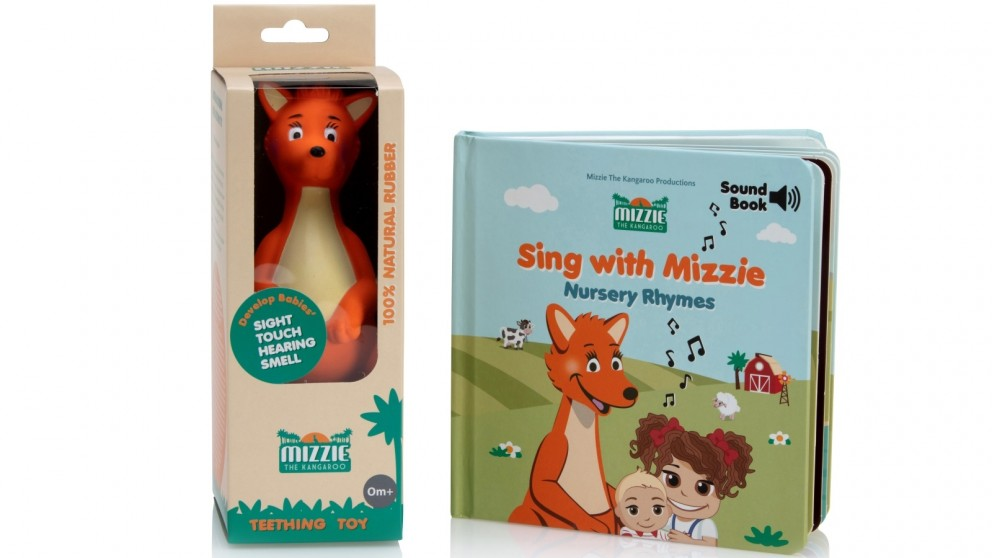 Mizzie The Kangaroo Teether and Sound Book Gift Set