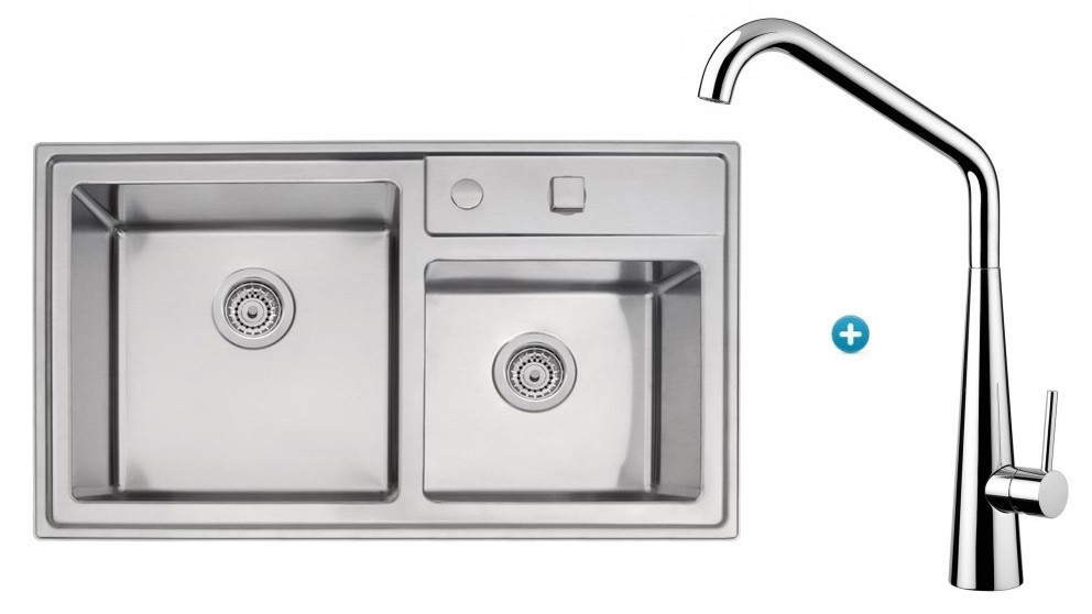 Linsol Tramontina Double Bowl Sink & Elias Kitchen Mixer Package