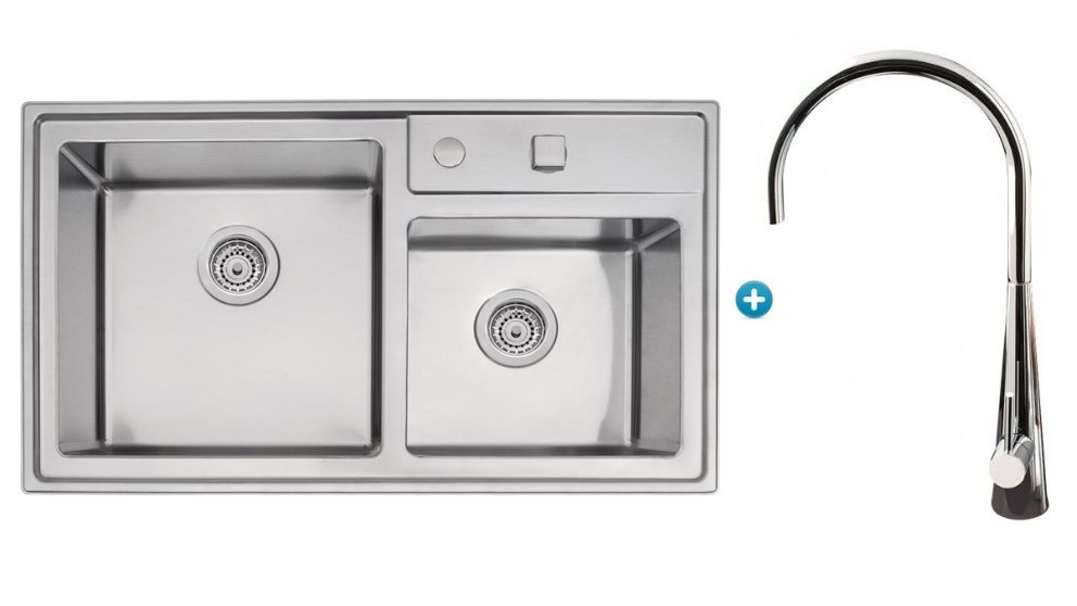 Linsol Tramontina Double Bowl Sink & Giacomo Kitchen Mixer Tap Package