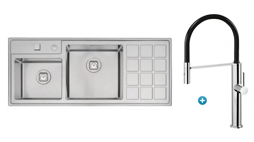 Linsol Tramontina Plus Double Bowl Sink & Luca Sink Mixer Package
