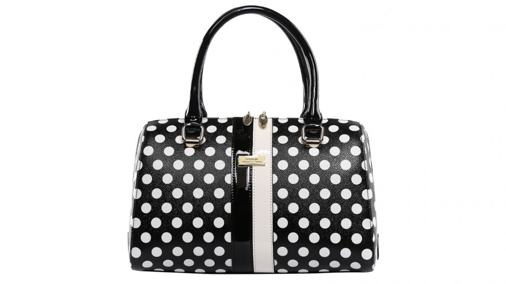 Serenade Trixie Leather Bowling Bag - Black/White