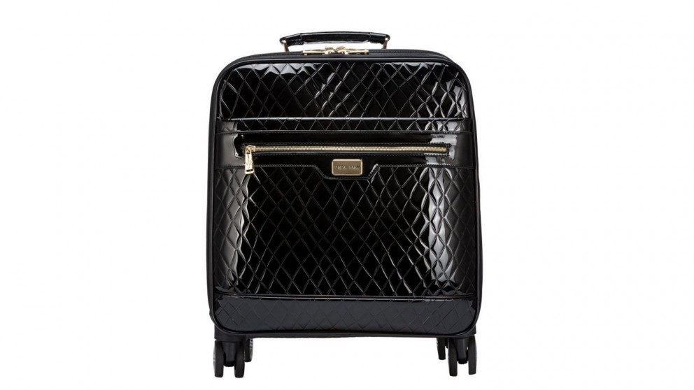 Slovenia Patent Faux Leather Trolley Travel Bag - Black