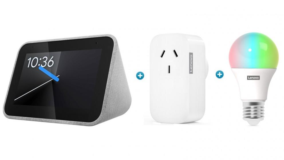 Lenovo Smart Clock + Smart Plug + Smart E27 Colour Bulb Bundle